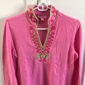 Lilly Pulitzer Pink Cotton and Cashmere Tunic S
